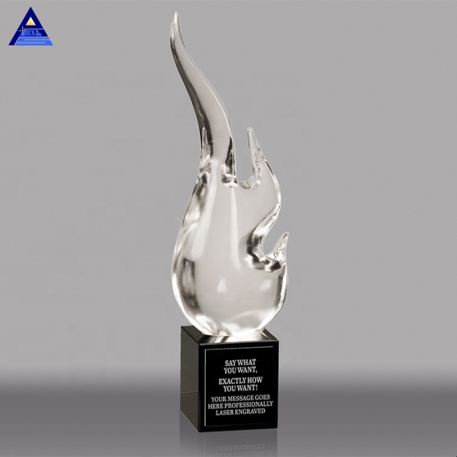 Wholesale Flame Engraved Clear Crystal Awards for Business Gifts