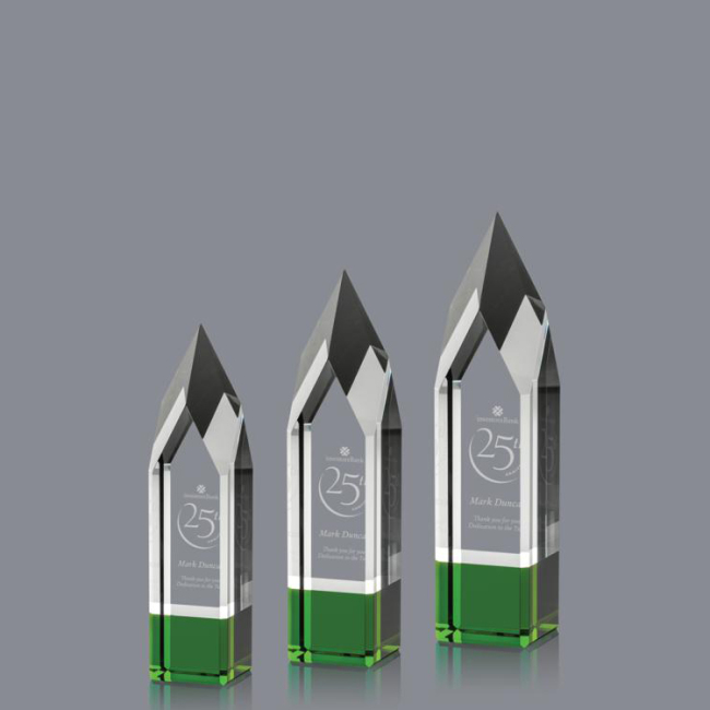 Promotional Wholesale Glass Customized Obelisk Awards Trophies For Corporate Gifts