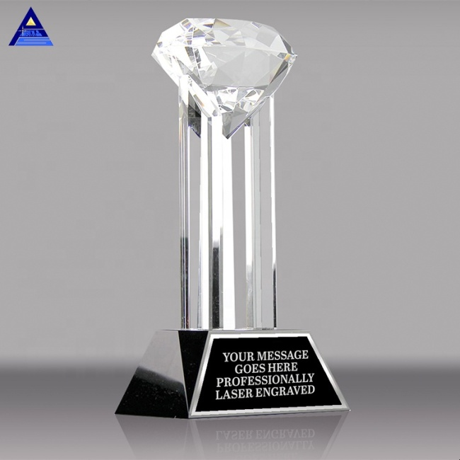 Bulk Price China Factory Supply Crystal Glass Black Diamond Trophy