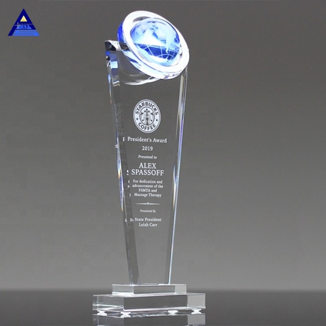 Optical Crystal World Globe Award With Stand