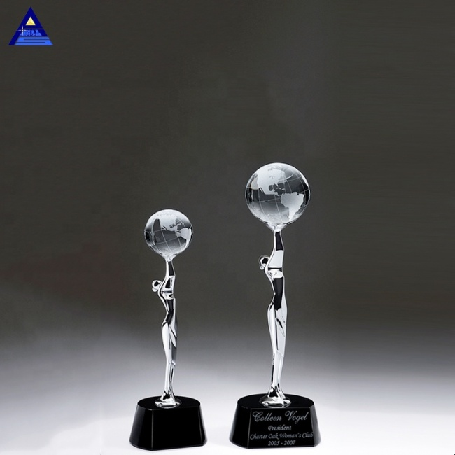 Global Celebration Figurine Crystal Award Trophy