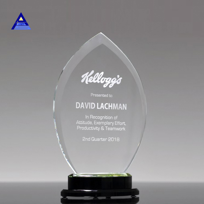 Top Selling Products Clear Custom Flame Shape Crystal Award For Successful Business Souvenirs