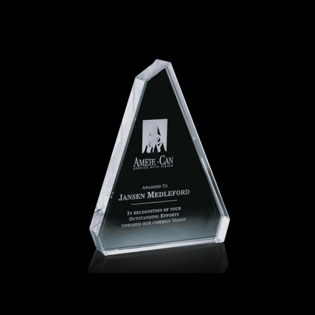 2020 latest triangle stereo 3D transparent crystal laser engraving custom crystal trophy