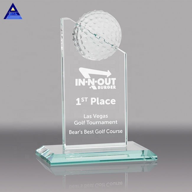 High End Unique Golf Design Crystal Glass Trophy Awards With Transparent Base