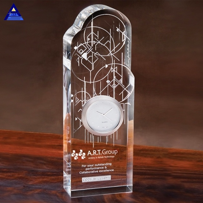 Personalized Optical Time Warp Award Trophy 3D Laser Antique Crystal Clock For Office Decorative