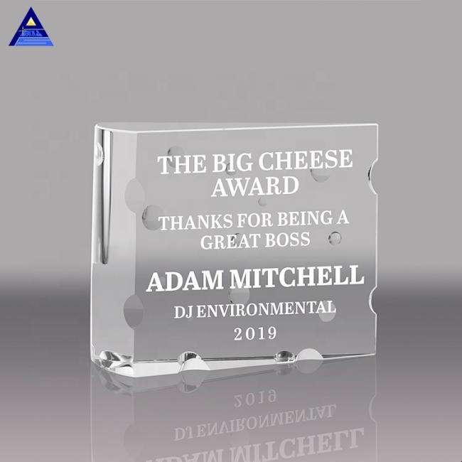 Unique Shape Customized Curved Beveled Blank Beautiful Glass Crystal Award Plaque