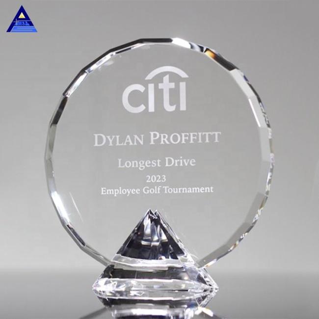 Hot Fashion Custom Engrave Clear Crystal Diamond Award Trophy