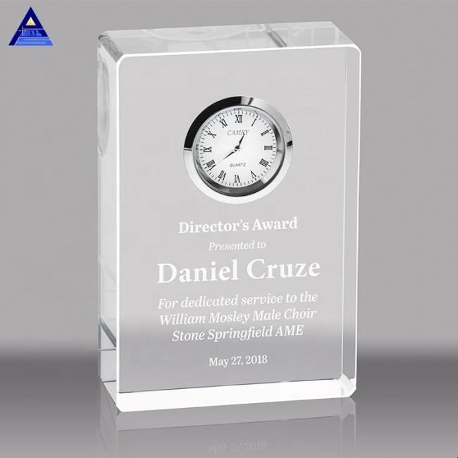 Square Shaped Blank Crystal Awards Clock for Customized Office Desk Gifts
