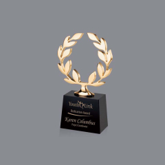 black  trophy cube with metal gold Olive branch peace world  Crystal Trophy