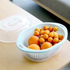 Plastic kitchen utensils 3 in 1 food fruit vegetable drainer basket and filter colander
