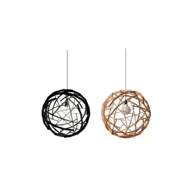 Spherical decorative wood pendant lamp