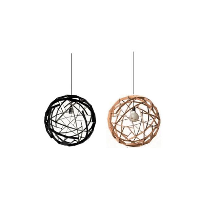 Spherical decorative wood pendant lamp