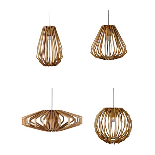 Diamonds decorative wooden lighting
