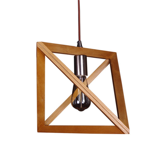 Aeolian bells wood pendant lamp